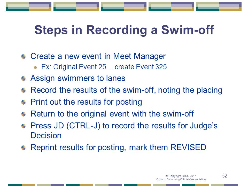 Steps in Recording a Swim-off