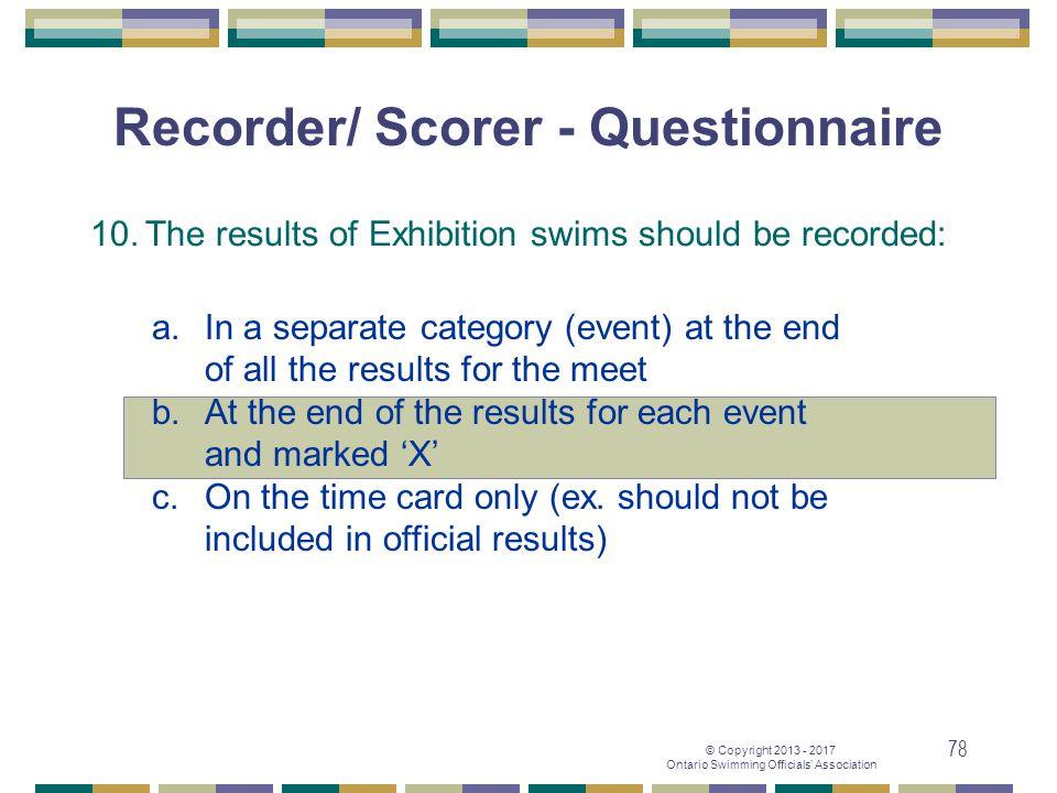 Recorder/ Scorer - Questionnaire