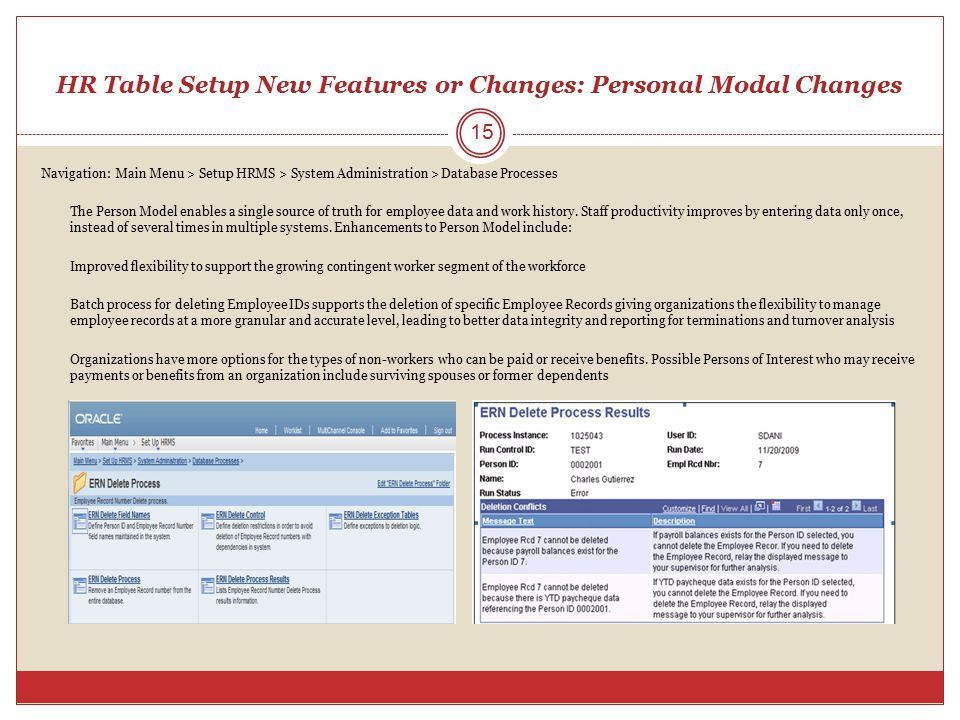 HR Table Setup New Features or Changes: Personal Modal Changes