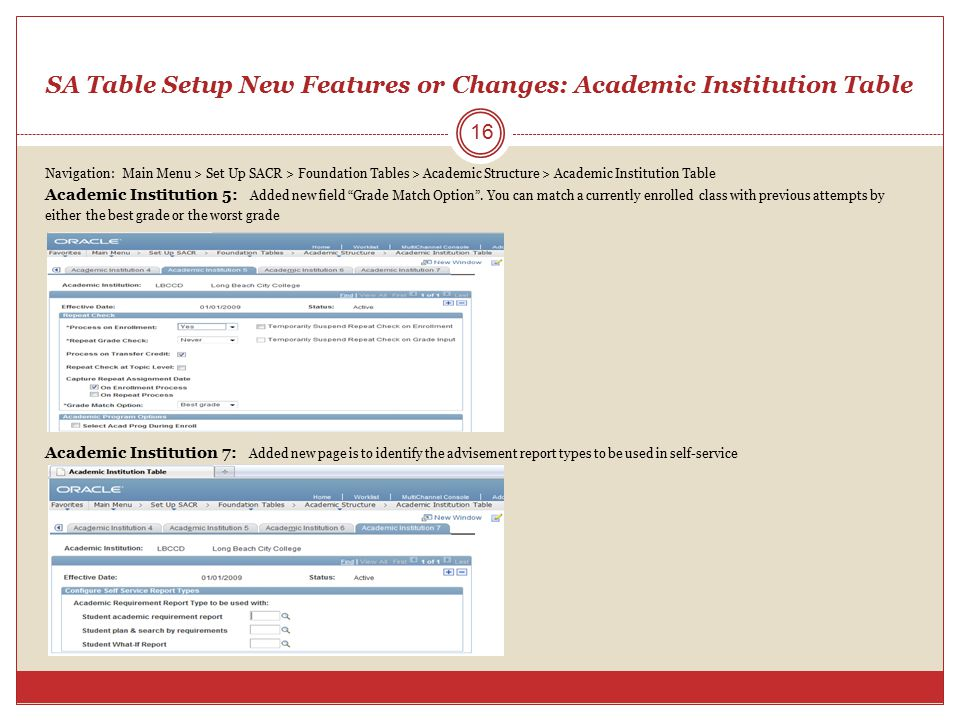SA Table Setup New Features or Changes: Academic Institution Table