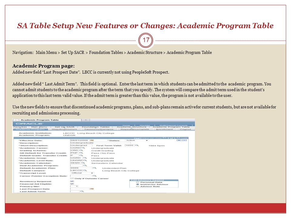 SA Table Setup New Features or Changes: Academic Program Table