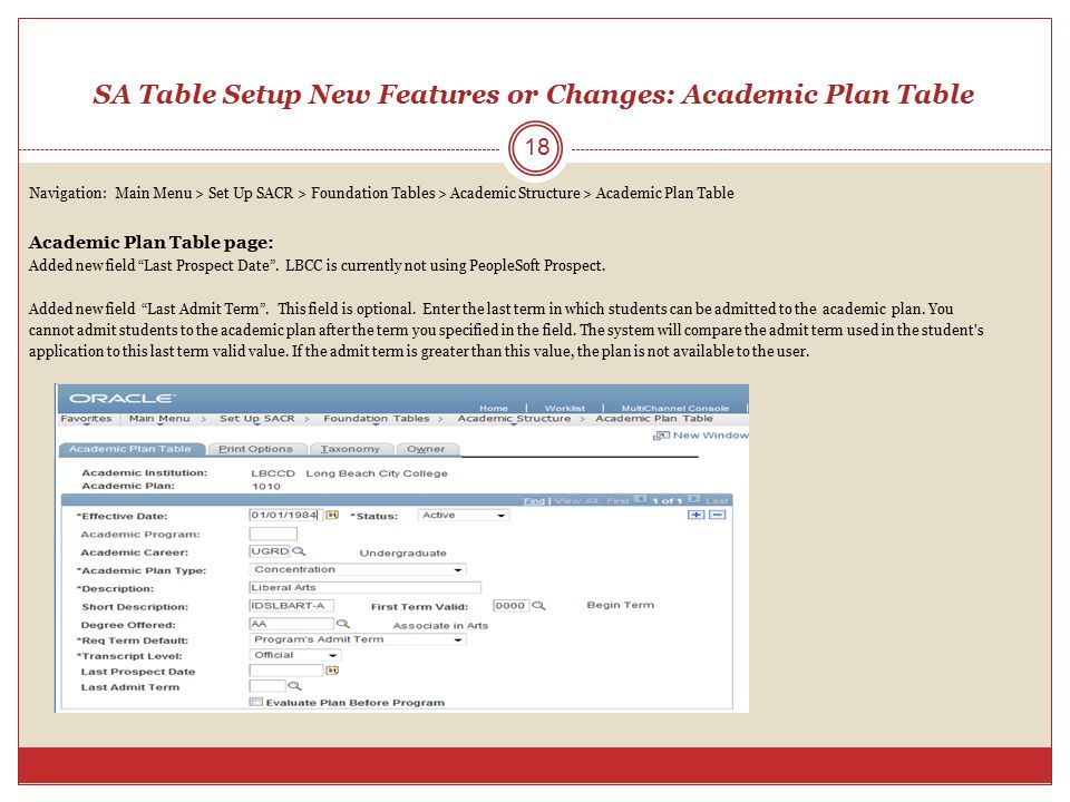 SA Table Setup New Features or Changes: Academic Plan Table