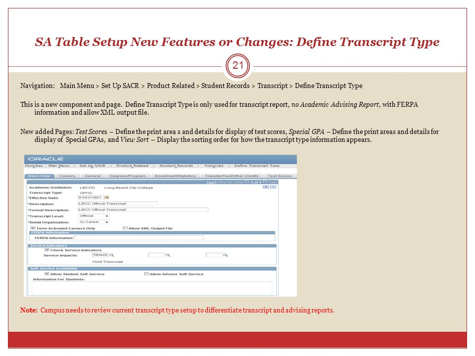 SA Table Setup New Features or Changes: Define Transcript Type