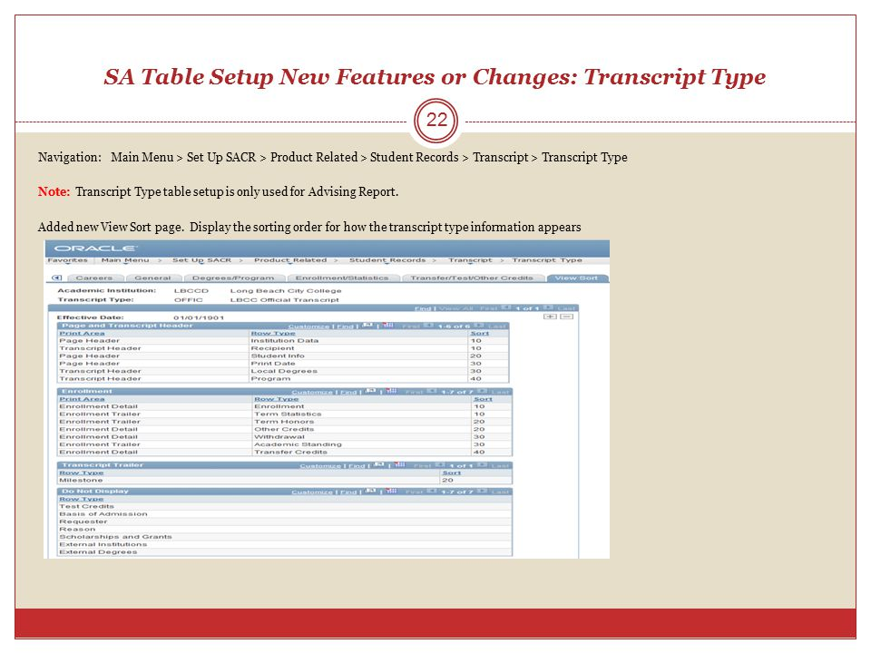 SA Table Setup New Features or Changes: Transcript Type