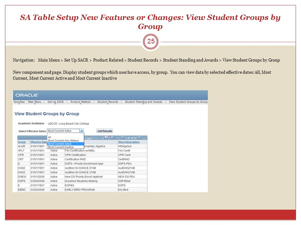 SA Table Setup New Features or Changes: View Student Groups by Group