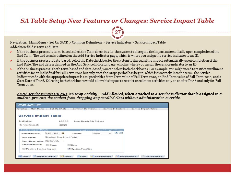 SA Table Setup New Features or Changes: Service Impact Table