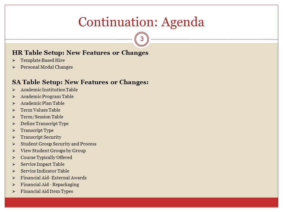 Continuation: Agenda HR Table Setup: New Features or Changes