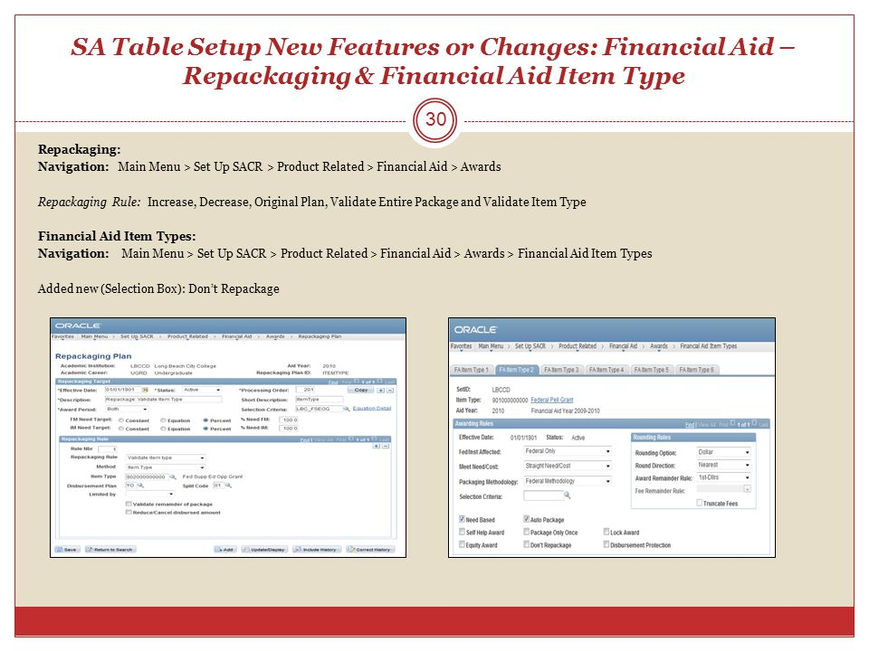 SA Table Setup New Features or Changes: Financial Aid – Repackaging & Financial Aid Item Type