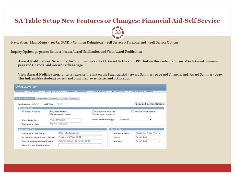 SA Table Setup New Features or Changes: Financial Aid-Self Service