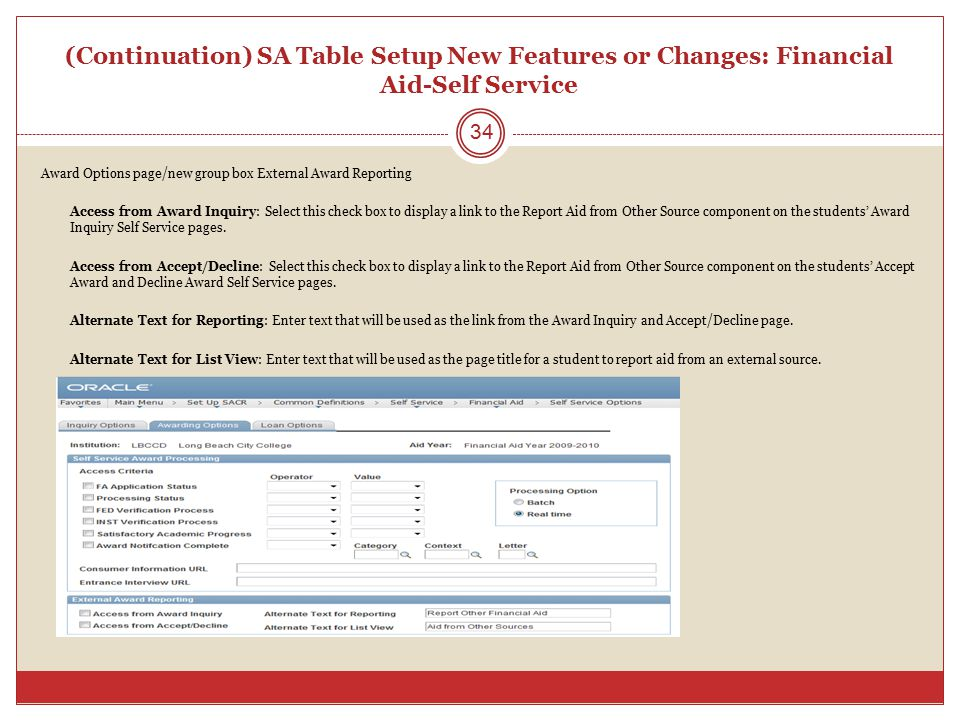 (Continuation) SA Table Setup New Features or Changes: Financial Aid-Self Service