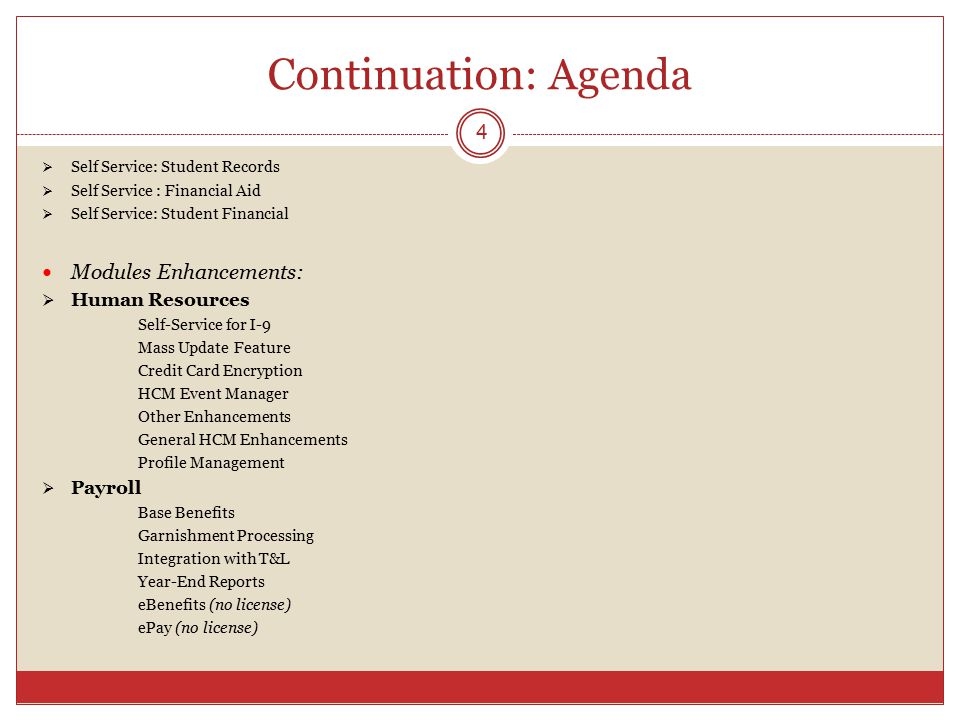 Continuation: Agenda Modules Enhancements: Human Resources Payroll