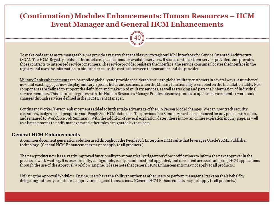(Continuation) Modules Enhancements: Human Resources – HCM Event Manager and General HCM Enhancements