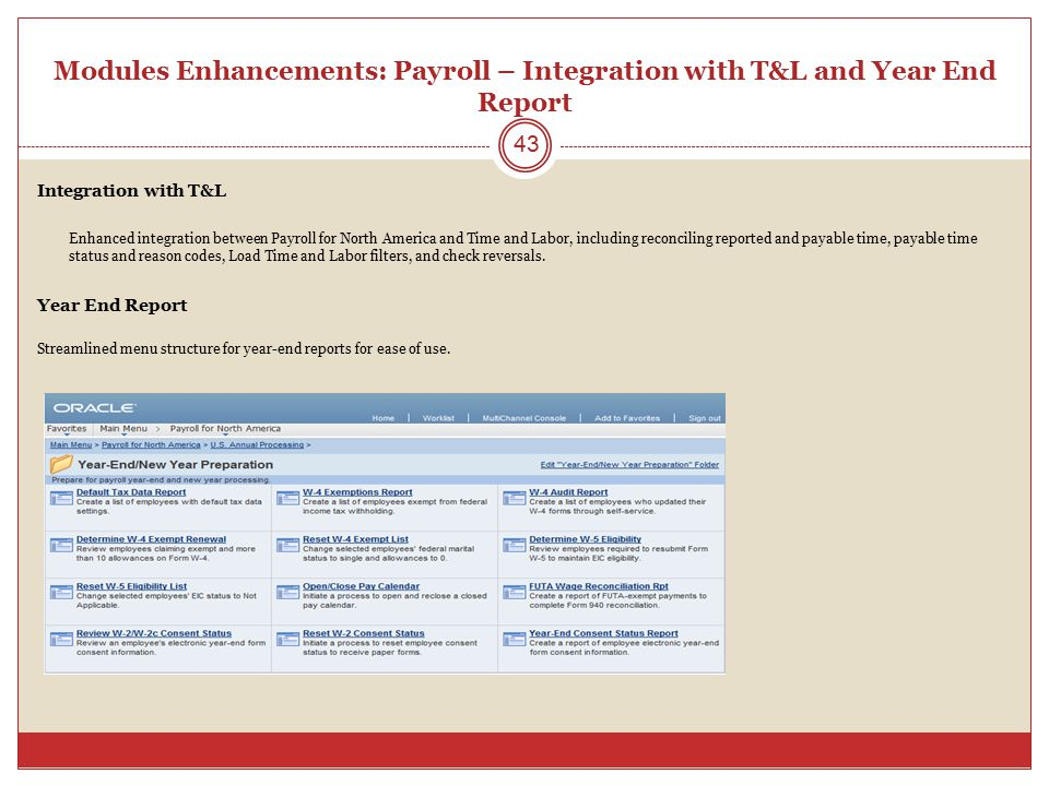 Modules Enhancements: Payroll – Integration with T&L and Year End Report