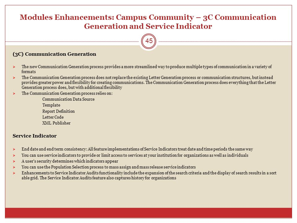Modules Enhancements: Campus Community – 3C Communication Generation and Service Indicator