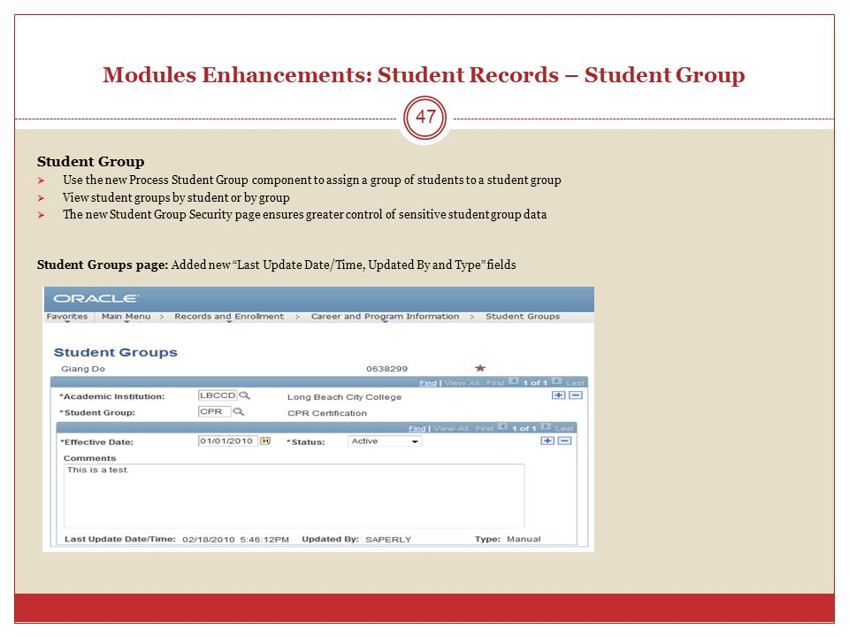 Modules Enhancements: Student Records – Student Group