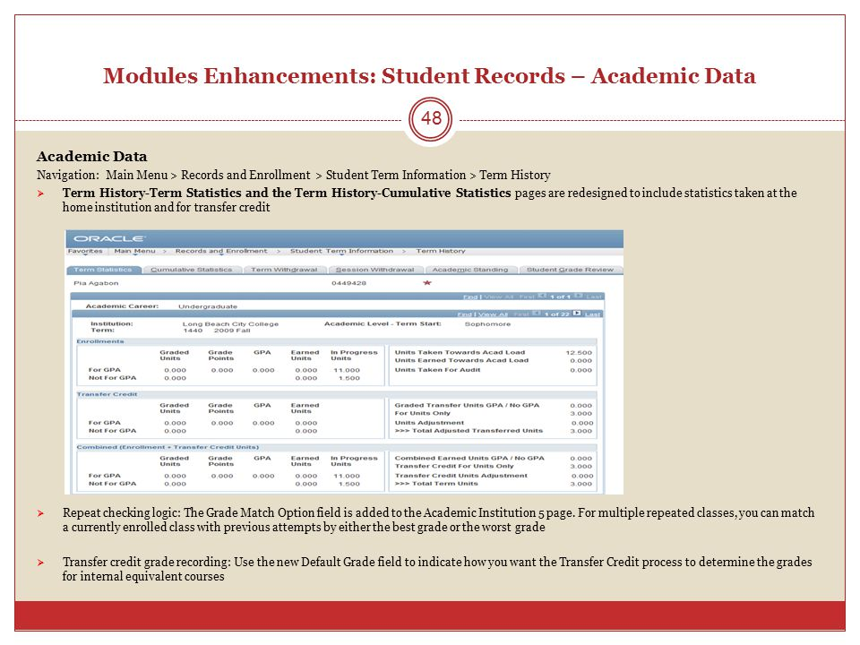 Modules Enhancements: Student Records – Academic Data