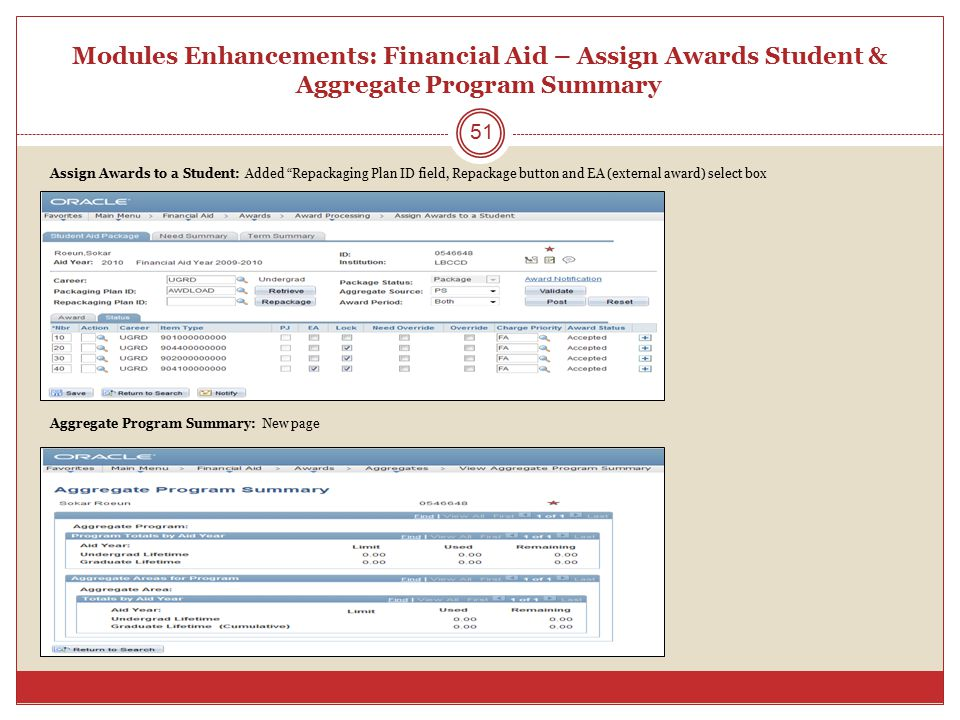 Modules Enhancements: Financial Aid – Assign Awards Student & Aggregate Program Summary