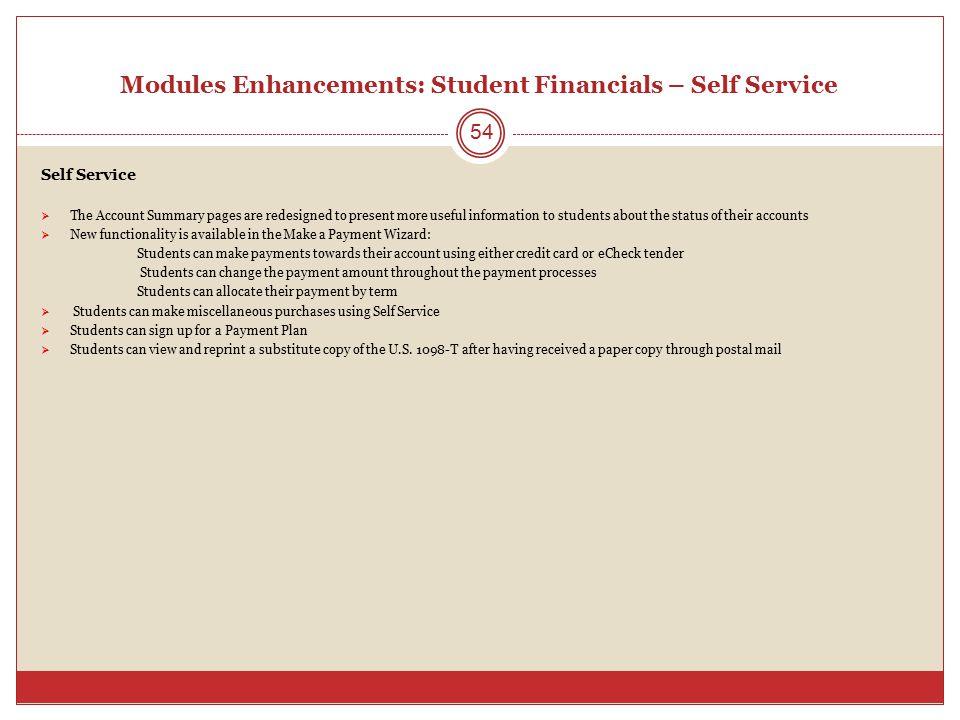 Modules Enhancements: Student Financials – Self Service