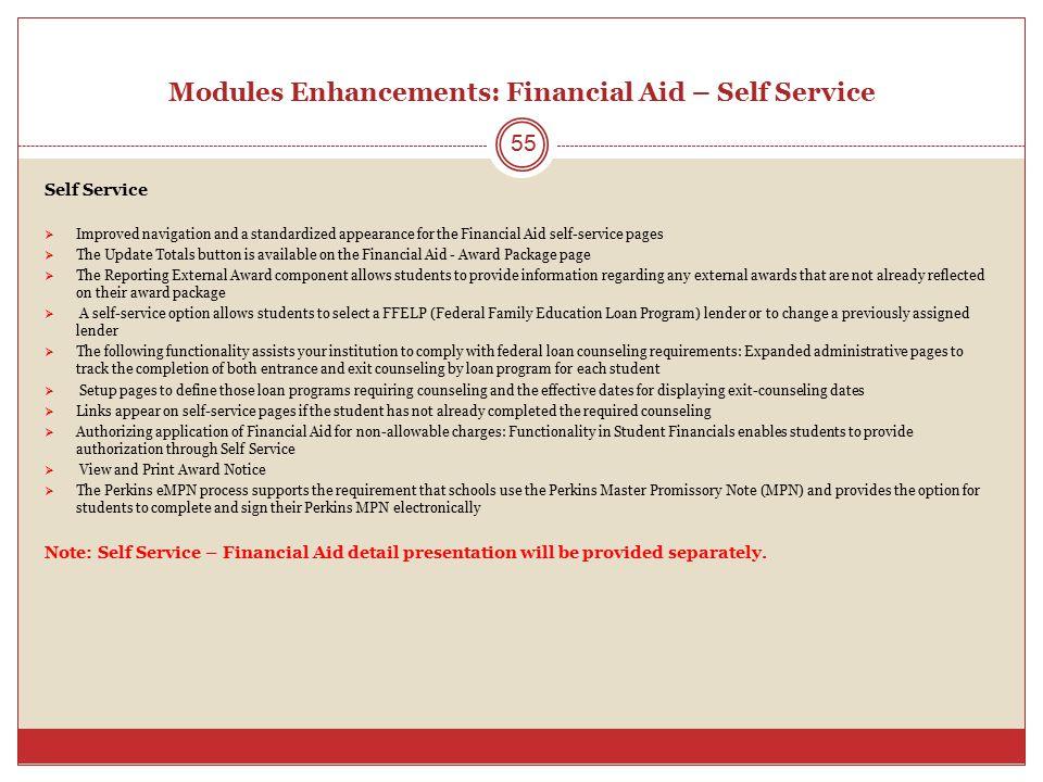 Modules Enhancements: Financial Aid – Self Service