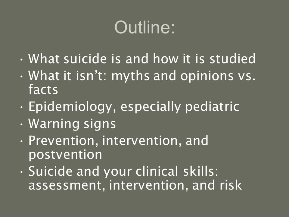 Outline: What suicide is and how it is studied