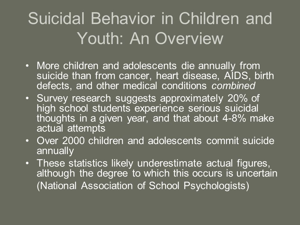 Suicidal Behavior in Children and Youth: An Overview