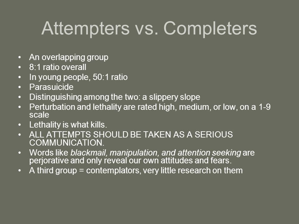 Attempters vs. Completers