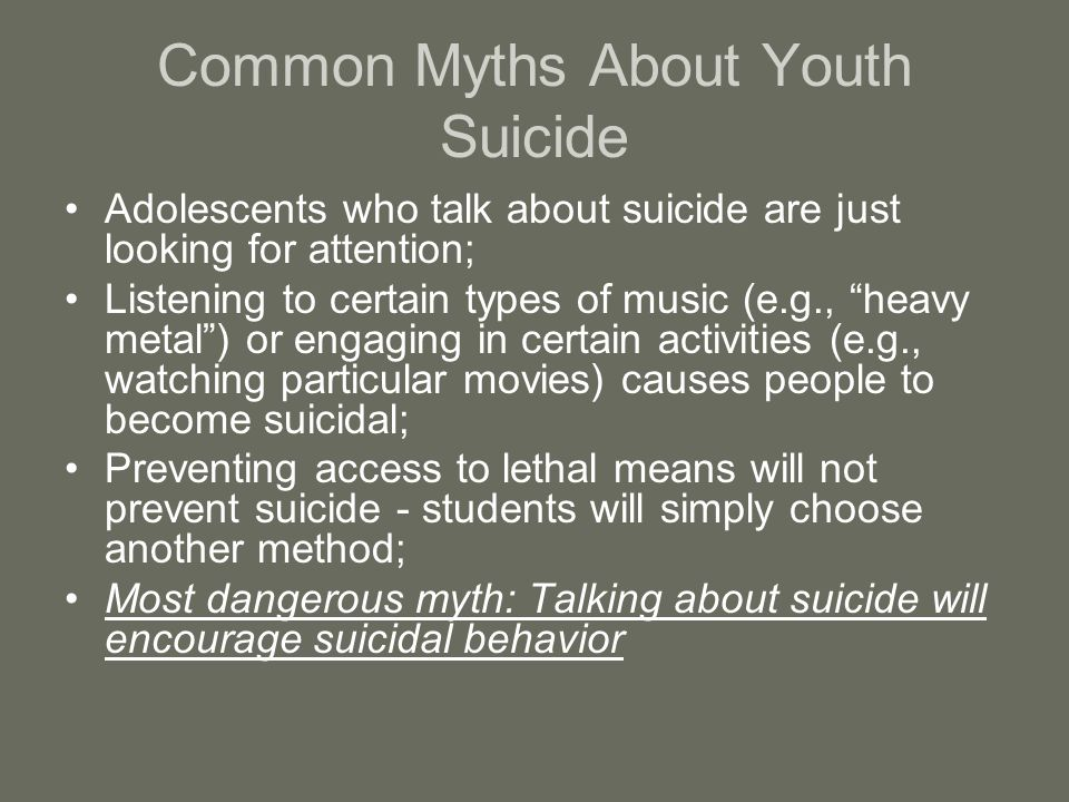 Common Myths About Youth Suicide