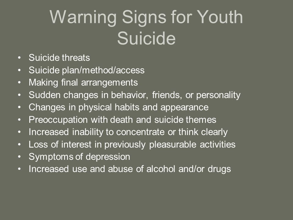 Warning Signs for Youth Suicide