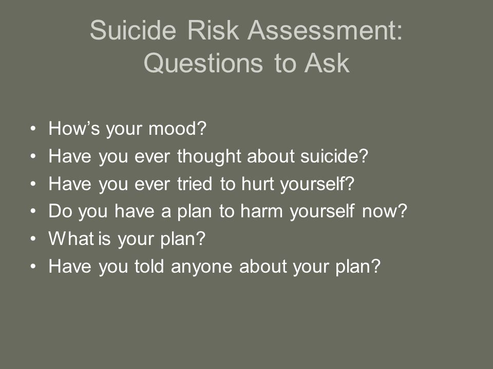 Suicide Risk Assessment: Questions to Ask