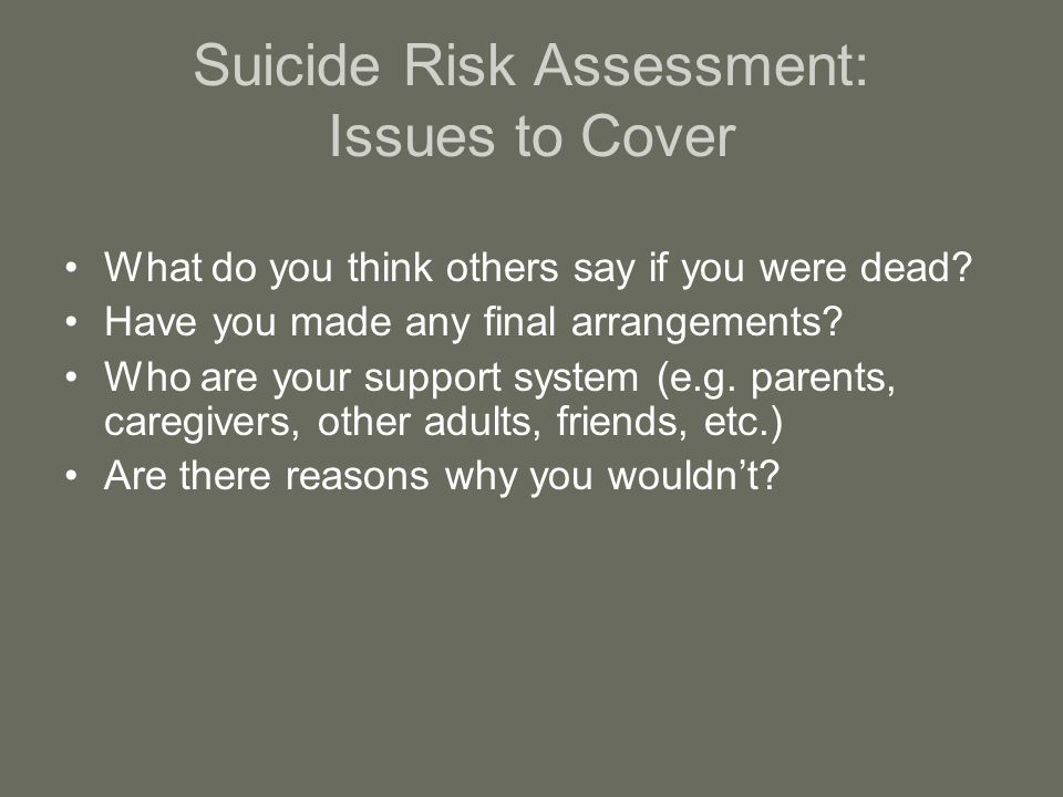 Suicide Risk Assessment: Issues to Cover