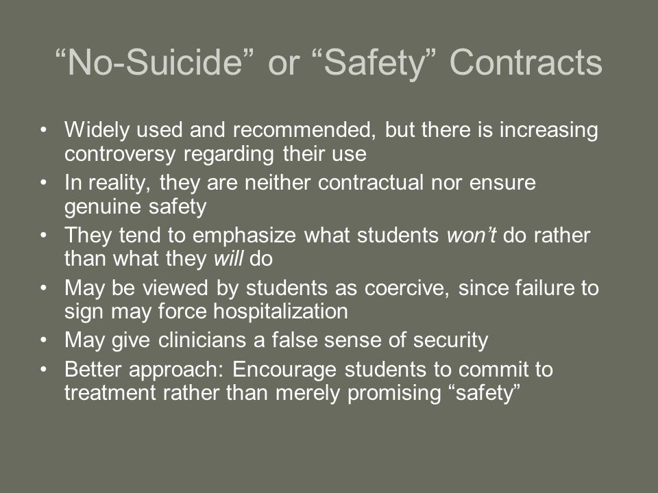 No-Suicide or Safety Contracts