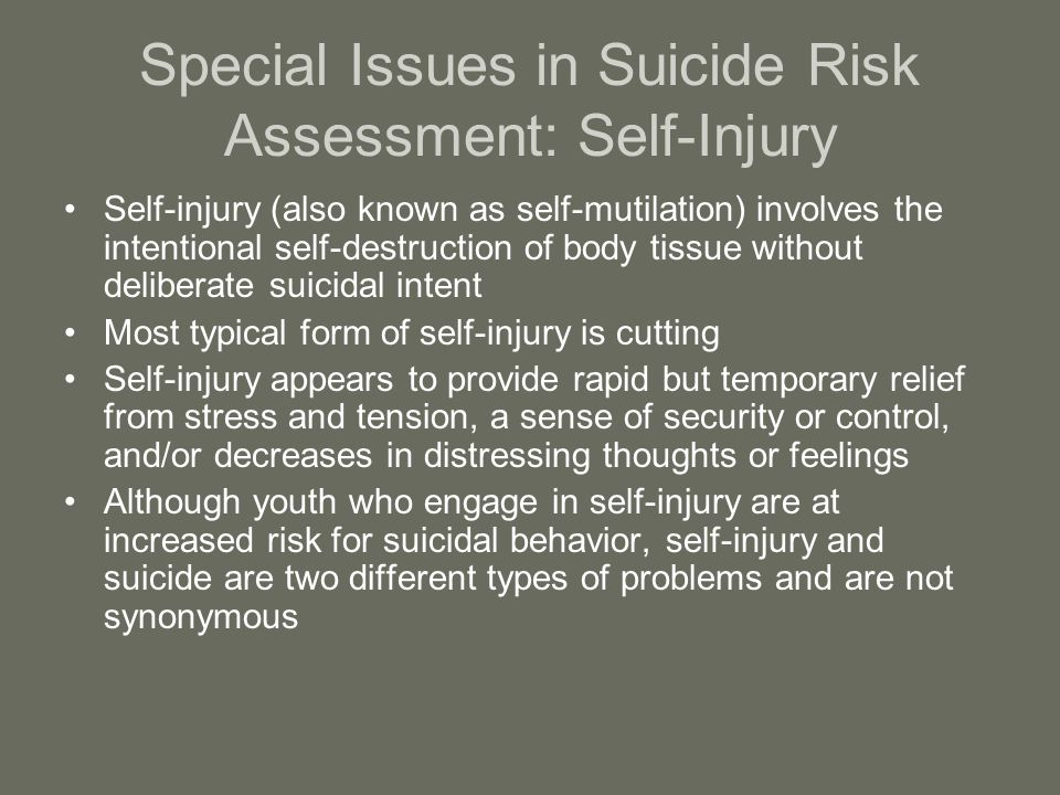 Special Issues in Suicide Risk Assessment: Self-Injury