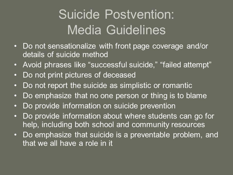 Suicide Postvention: Media Guidelines