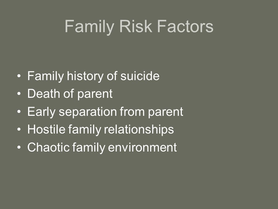 Family Risk Factors Family history of suicide Death of parent