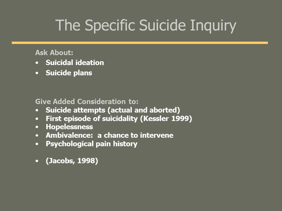 The Specific Suicide Inquiry