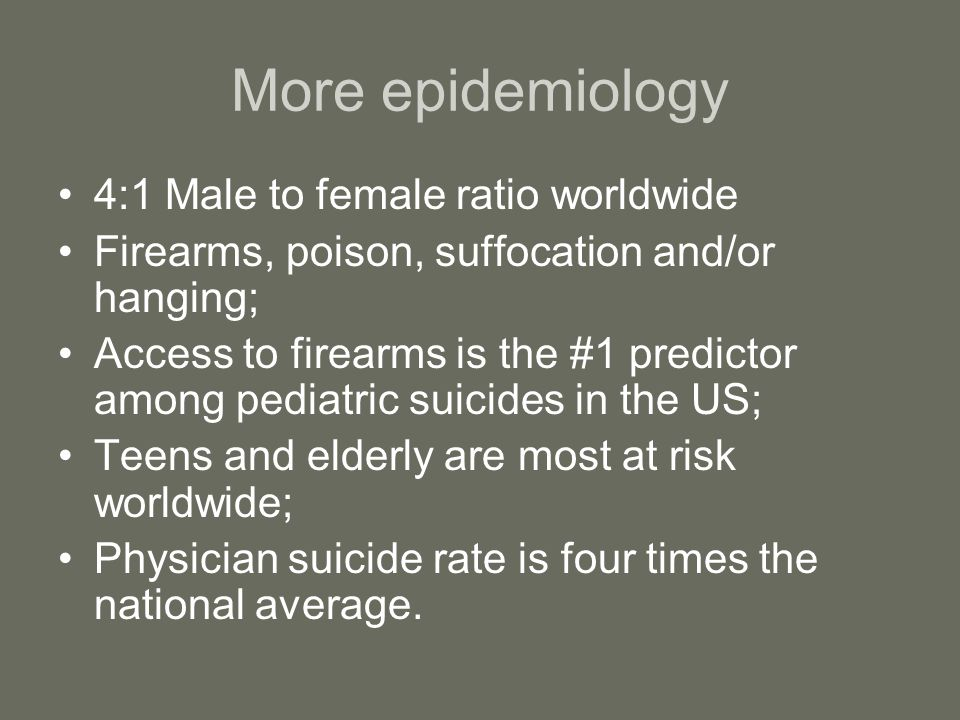 More epidemiology 4:1 Male to female ratio worldwide