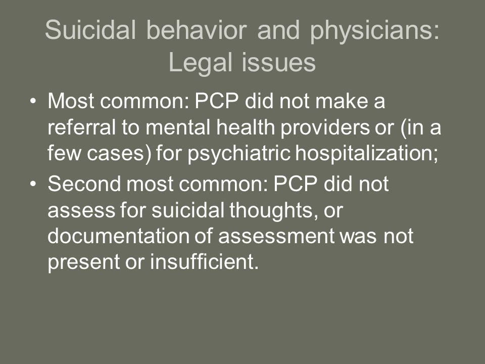 Suicidal behavior and physicians: Legal issues