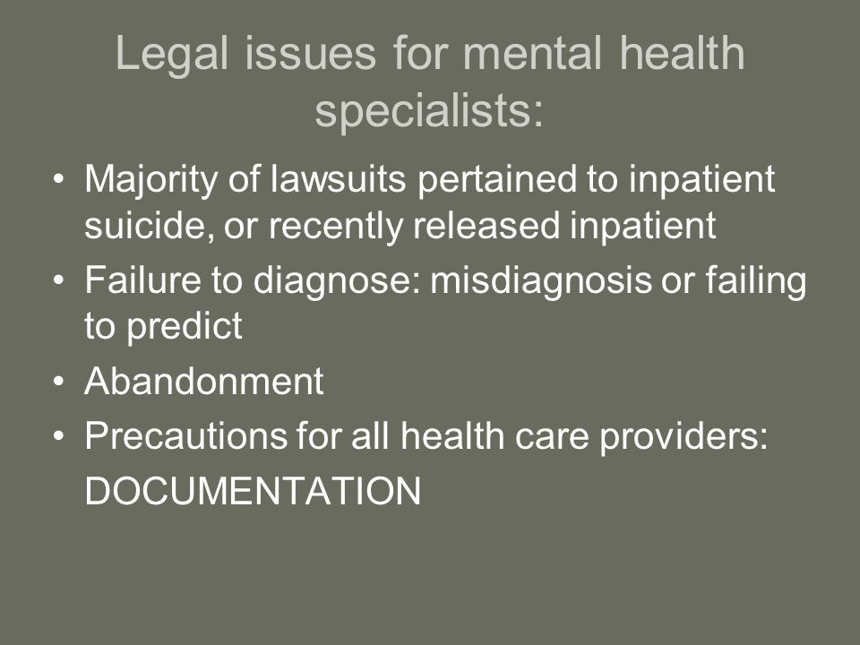 Legal issues for mental health specialists: