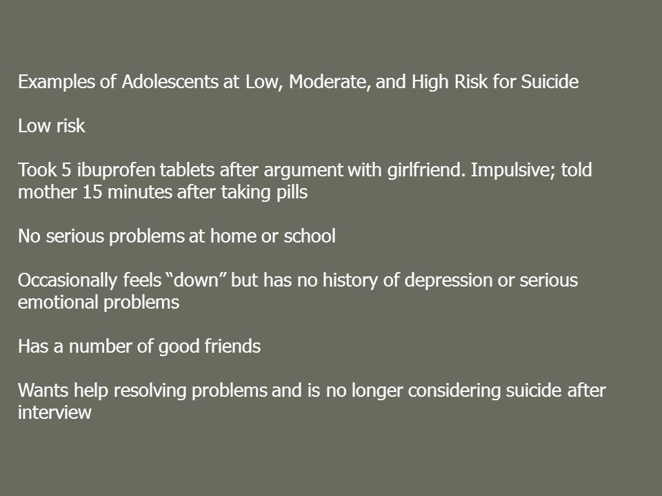 Examples of Adolescents at Low, Moderate, and High Risk for Suicide