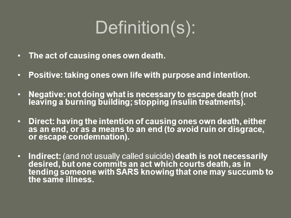 Definition(s): The act of causing ones own death.