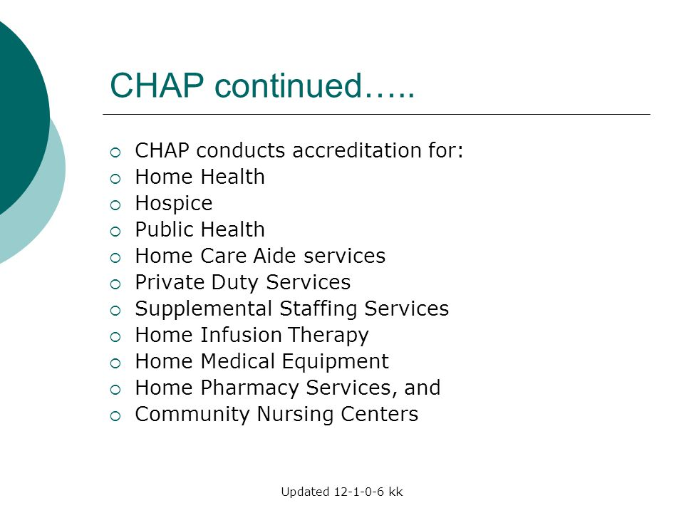 CHAP continued….. CHAP conducts accreditation for: Home Health Hospice