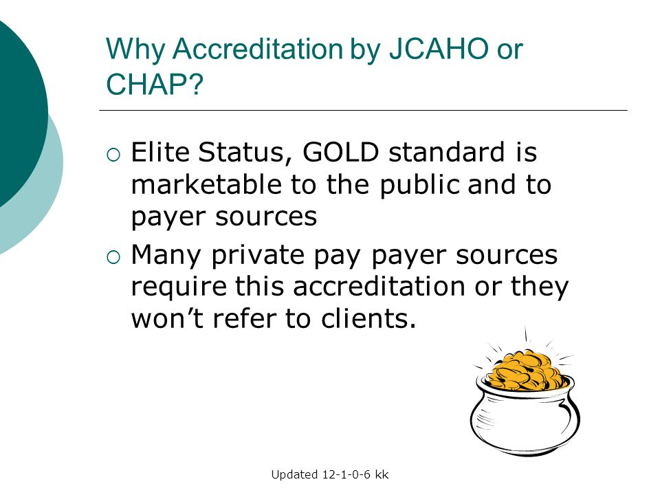 Why Accreditation by JCAHO or CHAP