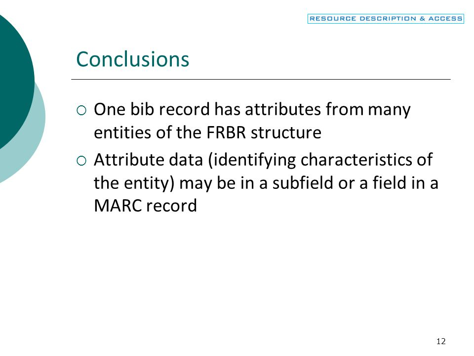 Conclusions One bib record has attributes from many entities of the FRBR structure.