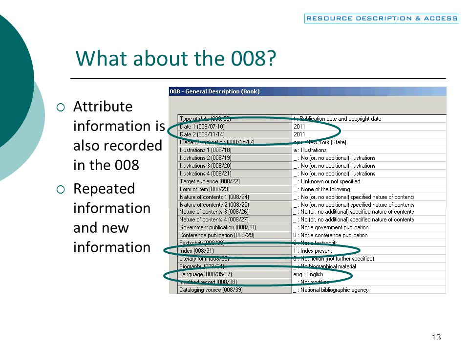 What about the 008 Attribute information is also recorded in the 008