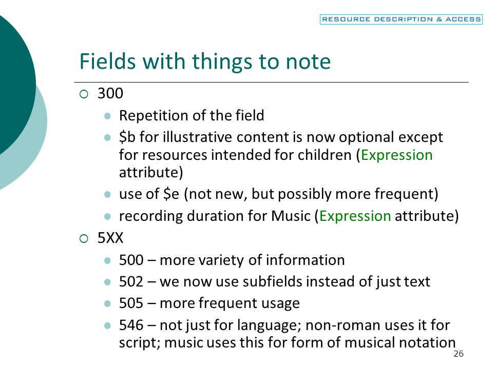Fields with things to note