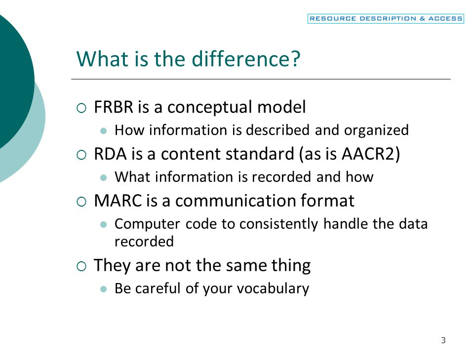 What is the difference FRBR is a conceptual model