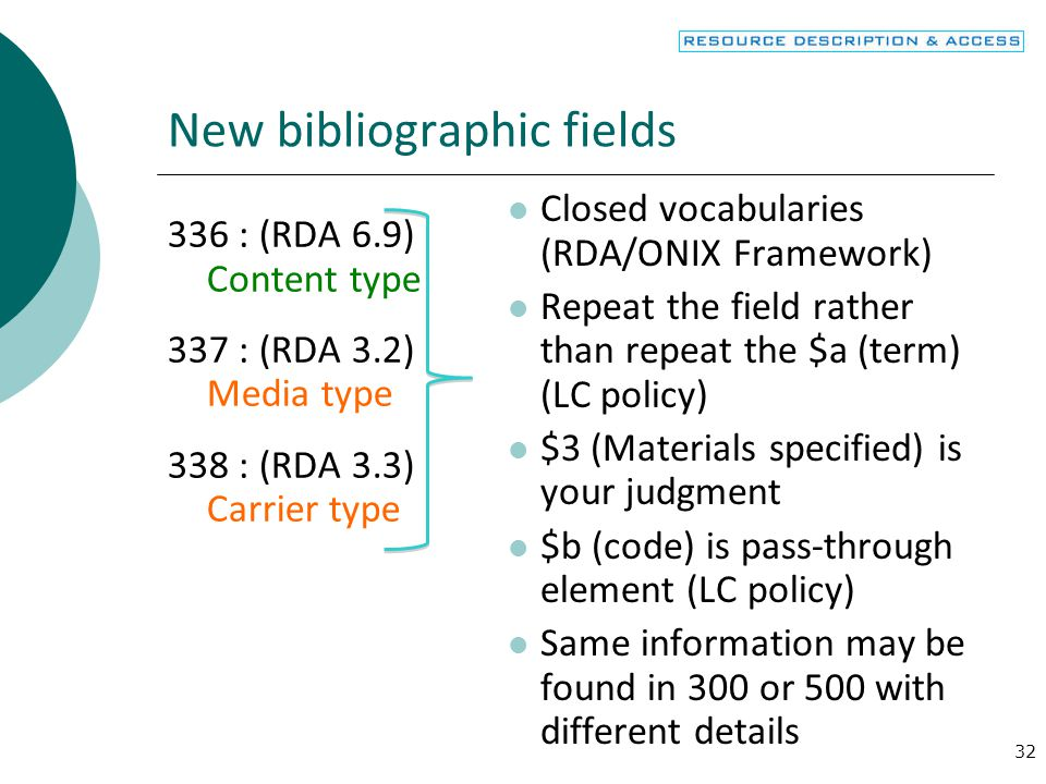 New bibliographic fields