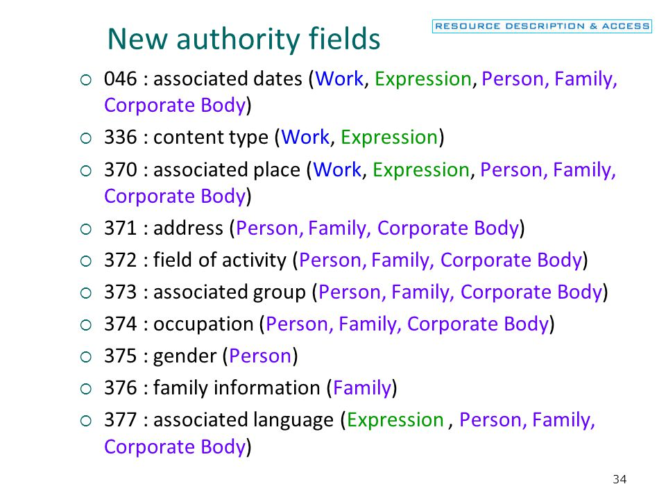 New authority fields 046 : associated dates (Work, Expression, Person, Family, Corporate Body) 336 : content type (Work, Expression)