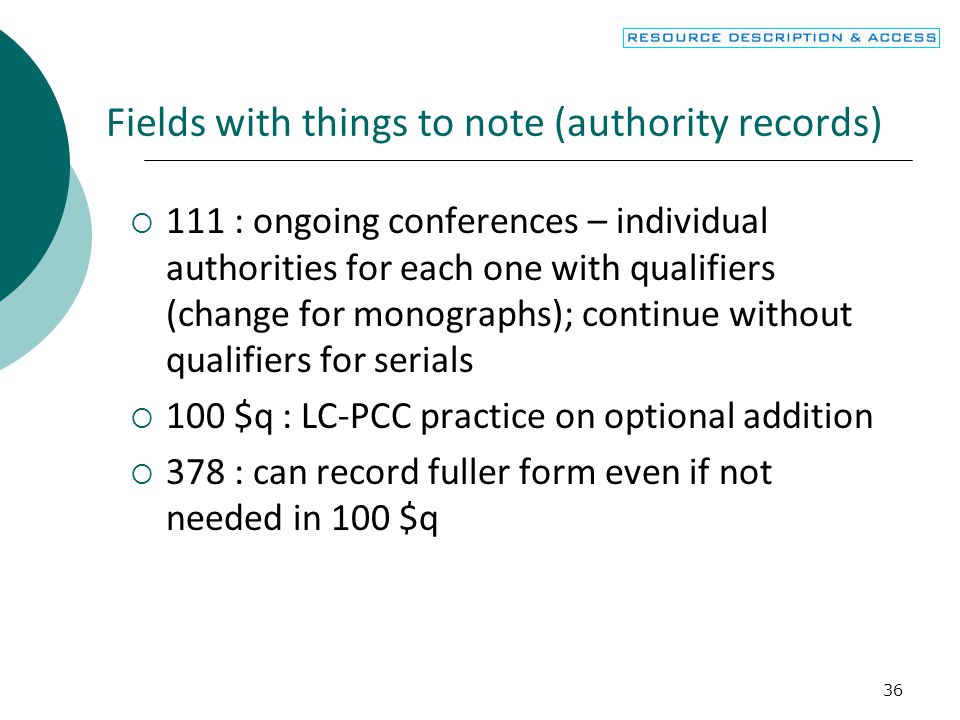Fields with things to note (authority records)