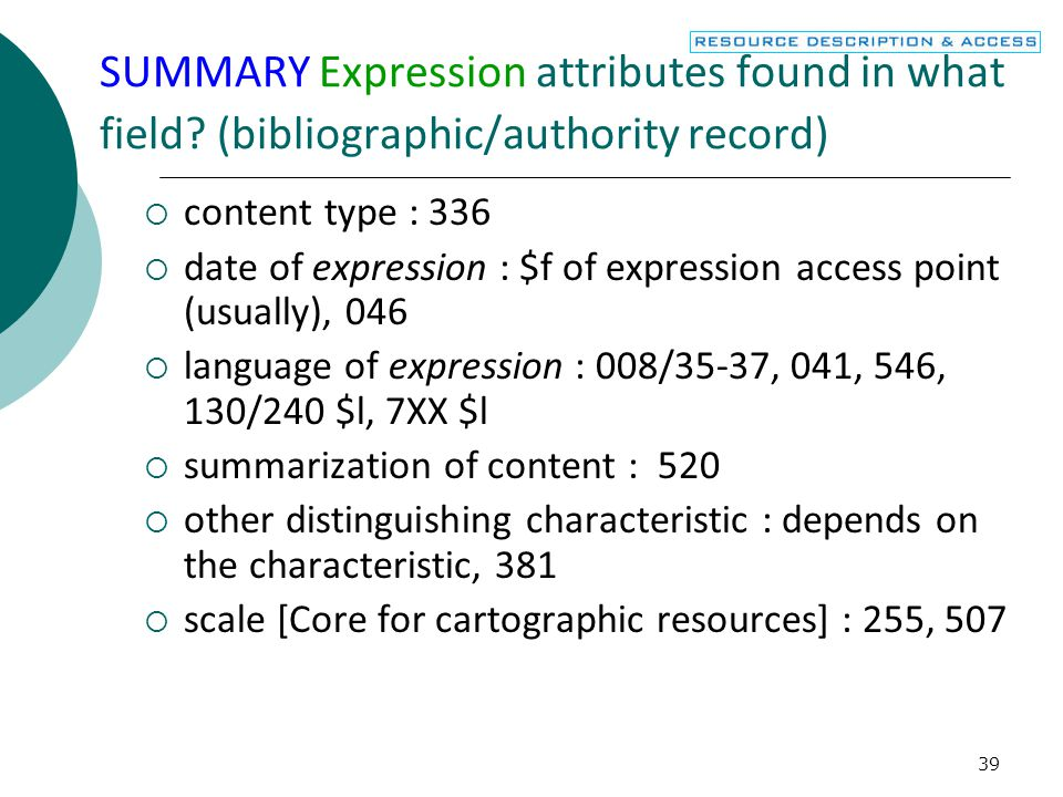 SUMMARY Expression attributes found in what field